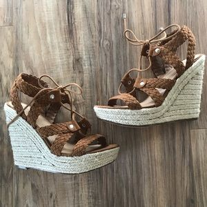 Woven Lace Up Espadrille Wedge Sandal